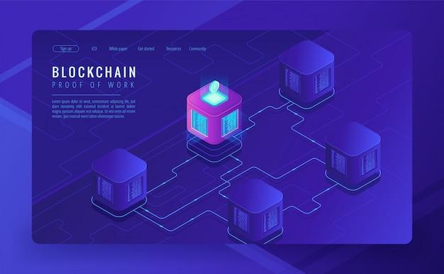 Conceito de transferência de dados e criptomoeda blockchain isométrica.