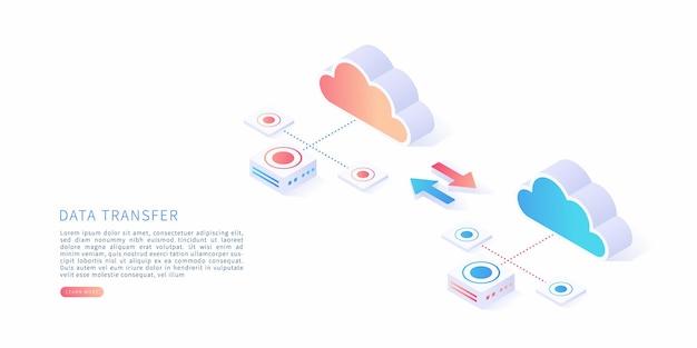 Conceito de transferência de dados em ilustração vetorial isométrica. receptor de arquivos de transferência de dados e backup em armazenamento em nuvem.