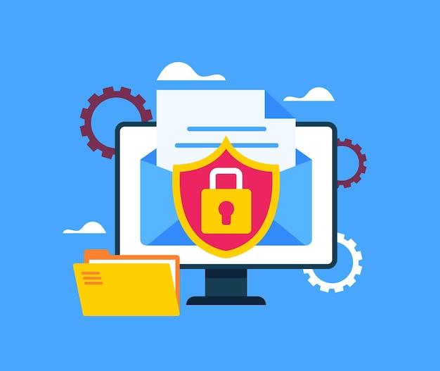 Conceito de transferência de documento de arquivo de envelope de milha de dados segura.