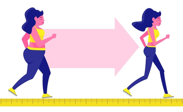 Conceito de transformação de corpo de mulher correndo garota está perdendo peso