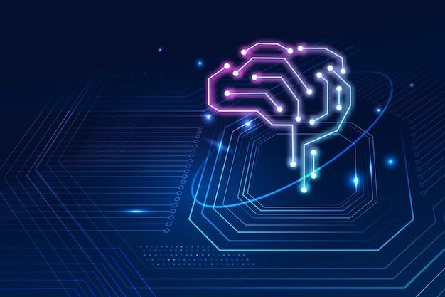 Conceito de transformação digital de vetor de fundo de cérebro de tecnologia de ia