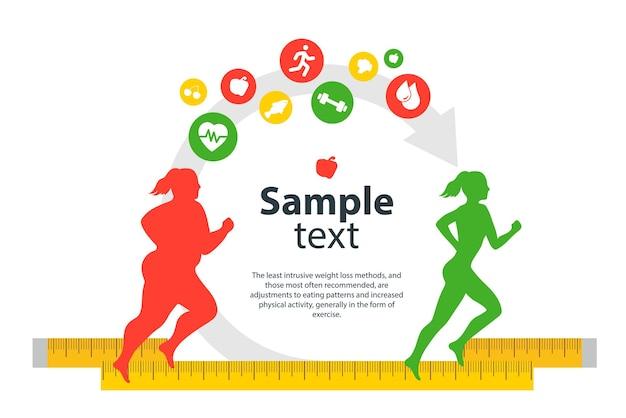 Conceito de transformação do corpo feminino a menina correndo está perdendo peso