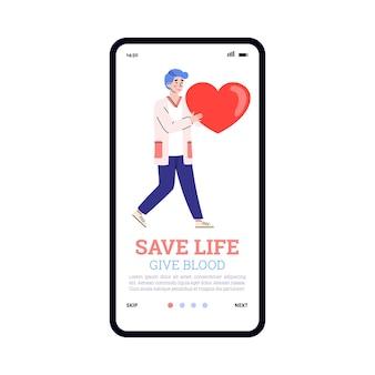 Conceito de transfusão de doação de sangue um aplicativo móvel na tela do telefone