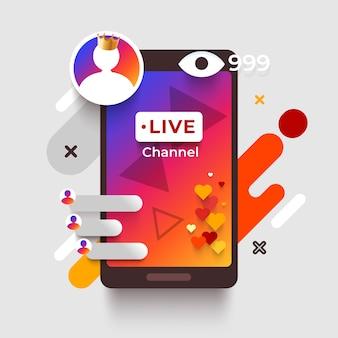 Conceito de transmissão ao vivo colorido