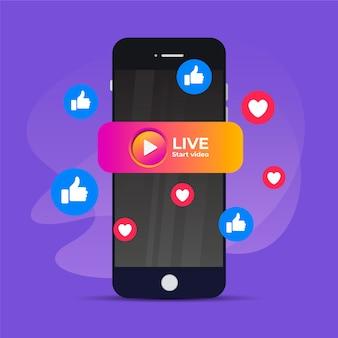 Conceito de transmissão ao vivo com smartphone