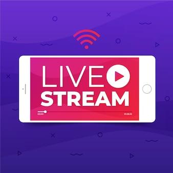 Conceito de transmissão ao vivo com telefone