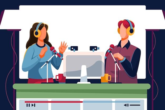 Conceito de transmissão ao vivo de evento