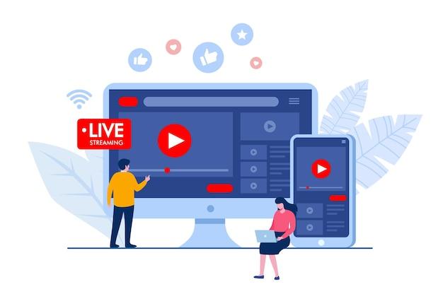 Conceito de transmissão ao vivo de mídia social. banner de ilustração vetorial plana e página de destino