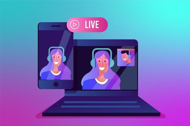 Conceito de transmissão ao vivo em dispositivos