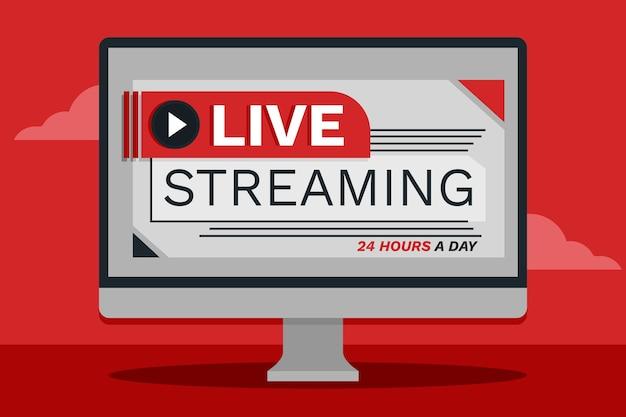 Conceito de transmissão ao vivo no computador