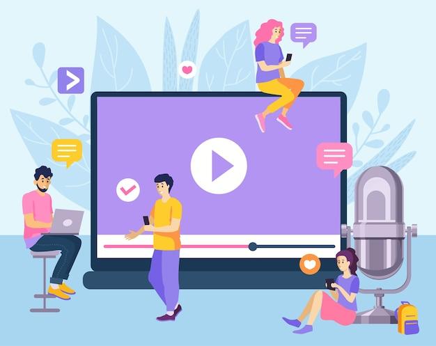 Conceito de transmissão de streaming ao vivo pessoas assistindo e compartilhando vídeo online reprodutor de vídeos de web de televisão digital na internet ou transmissão ao vivo de mídia social. stream de vídeo online