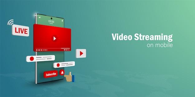 Conceito de transmissão de vídeo ao vivo, assista e transmita uma transmissão de vídeo no smartphone com mídias sociais