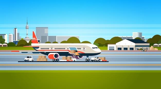Conceito de transporte de mercadorias por companhia aérea