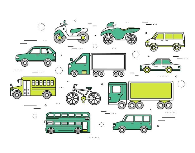 Conceito de transporte define ilustração de ícones em design de estilo de linhas finas