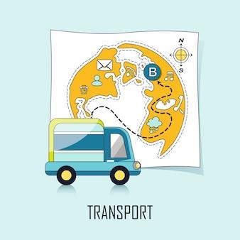 Conceito de transporte: um caminhão e um mapa em estilo de linha
