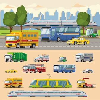 Conceito de transporte urbano colorido