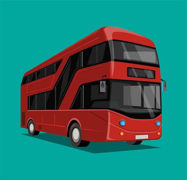 Conceito de transporte urbano de ônibus de dois andares vermelho na ilustração dos desenhos animados