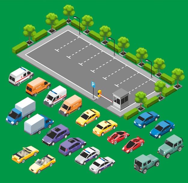 Conceito de transporte urbano isométrico
