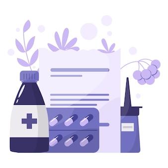 Conceito de tratamento de saúde e medicação. recolha de medicamentos de farmácia em frasco e caixa. comprimido de medicamento e formulário de prescrição. conceito de farmácia e farmacêutico.