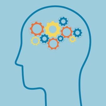 Conceito de tratamento de saúde mental com silhueta da cabeça e mecanismo de engrenagem