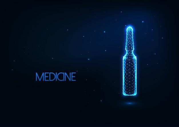 Conceito de tratamento médico futurista com ampola de vidro baixo poli brilhante com medicamentos líquidos