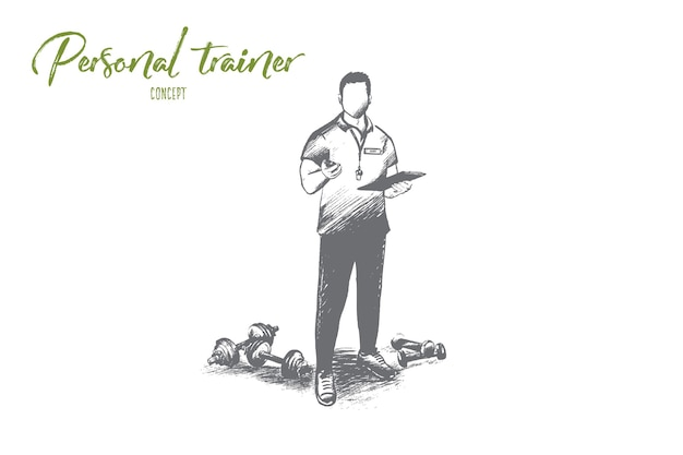 Conceito de treinador pessoal. mão-extraídas treinador de fitness profissional. treinador masculino bonito com ilustração isolada de área de transferência.