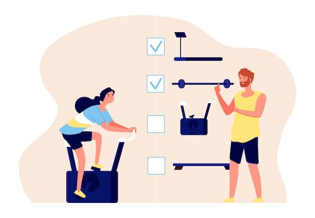 Conceito de treinamento pessoal. personagens de vetor de treinador e atleta. plano de treinamento, ilustração plana de fitness. treino de ginástica pessoal, exercício físico