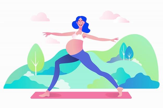 Conceito de treino de prática de ioga pré-natal de gravidez