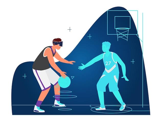 Conceito de treino e esporte vr homem com fone de ouvido vr jogando basquete com oponente virtual