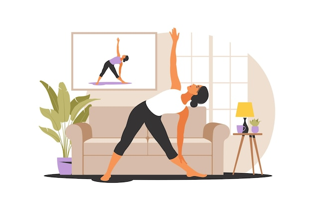 Conceito de treino online. mulher fazendo ioga em casa. assistindo tutoriais em uma tv. exercício esportivo em um interior aconchegante. ilustração vetorial. plano.