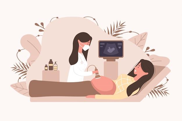 Conceito de triagem de gravidez por ultra-som. médica em uniforme médico digitalização mãe. menina com barriga olhando no monitor sorrindo. ilustração de diagnóstico de saúde de bebê embrião.
