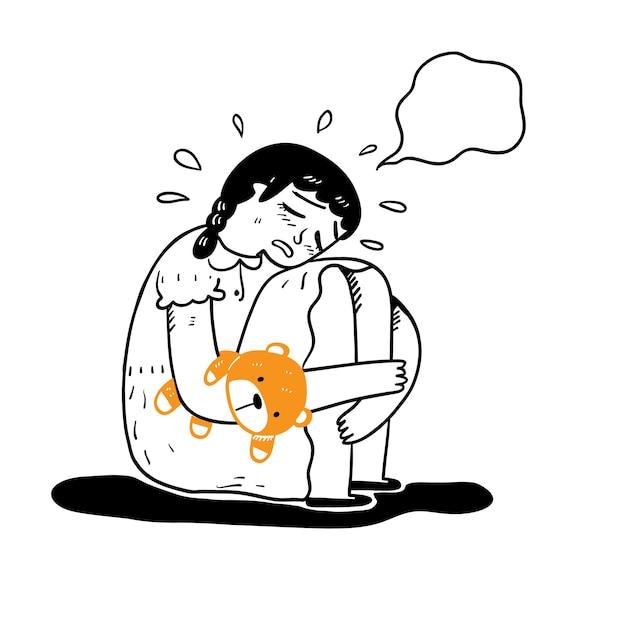 Conceito de tristeza, nostalgia, perda, sorteio de mão estilo de doodle de ilustração vetorial