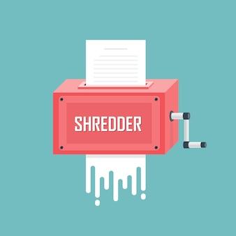 Conceito de trituradora de papel. ilustração vetorial