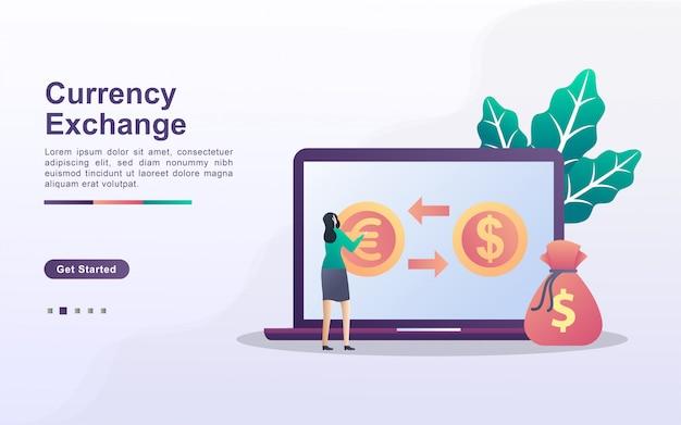 Conceito de troca de moeda. as pessoas trocam moedas online. serviços de câmbio mundial. pode usar para página de destino da web, banner, panfleto, aplicativo móvel.