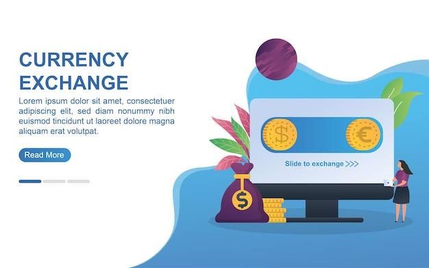 Conceito de troca de moeda para página inicial ou banner da web.