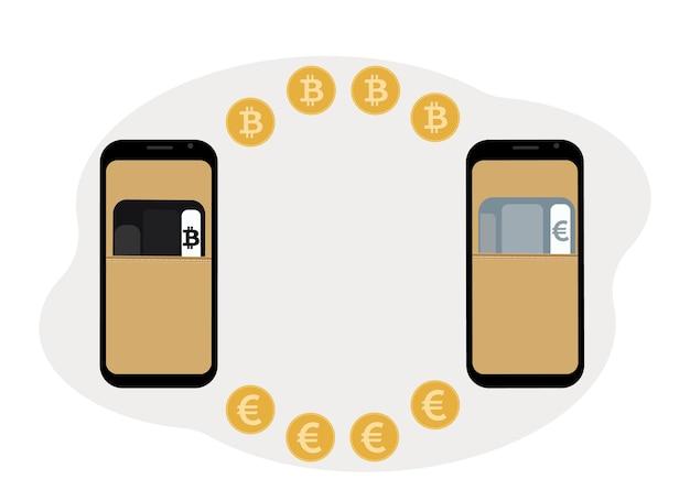 Conceito de troca e armazenamento de criptomoeda. celular com ilustração de cartões plásticos para criptomoeda e moeda.