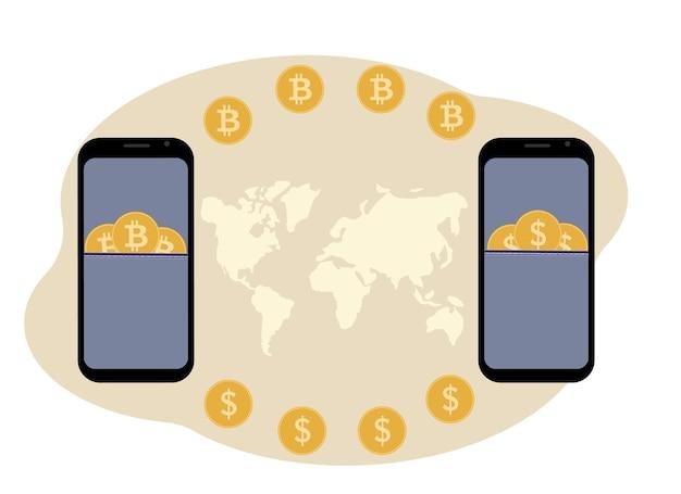 Conceito de troca e armazenamento de criptomoeda. celular com ilustração de criptomoeda e moedas.