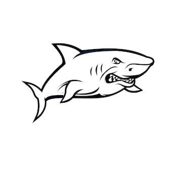 Conceito de tubarão em preto e branco isolado no branco