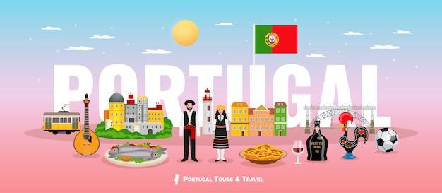 Conceito de turismo de portugal com símbolos de pessoas e pontos turísticos de cozinha plana