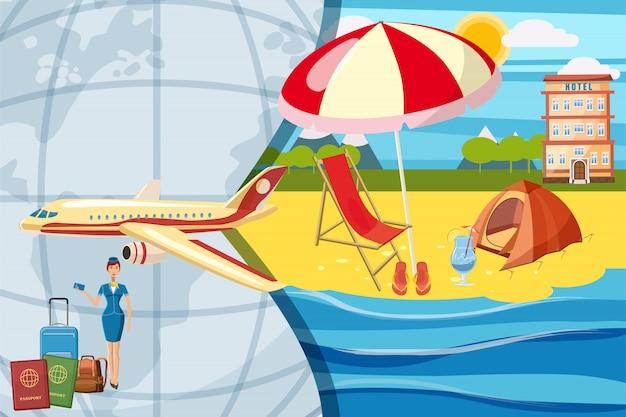 Conceito de turismo de viagens. fundo