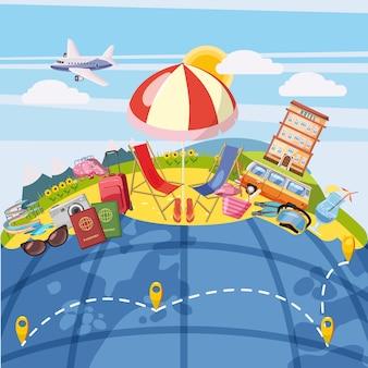 Conceito de turismo de viagens global. fundo