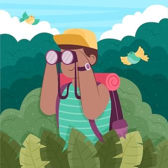 Conceito de turismo ecológico ilustrado