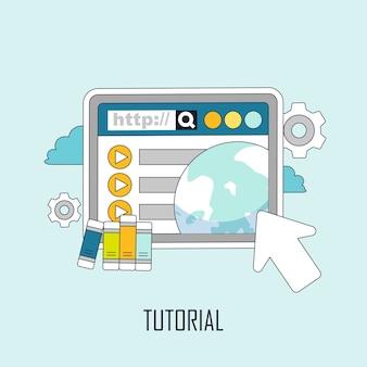 Conceito de tutorial: conhecimento saltando da página da web em estilo de linha