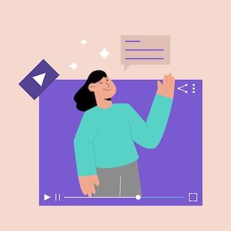 Conceito de tutorial de vídeo online