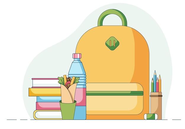 Conceito de um rolo de merenda escolar com uma garrafa de água na frente de um livro multicolorido