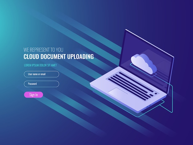 Conceito de upload de documentos em nuvem, cópia e armazenamento de arquivos do servidor clous