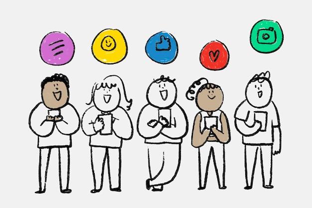 Conceito de usuários on-line de vetor de doodle de mídia social