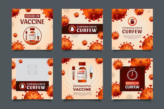 Conceito de vacina e toque de recolher de coronavírus, modelo de postagem de mídia social.