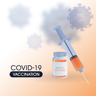 Conceito de vacinação covid-19 com frasco de vacina e injeção de seringa no fundo branco e laranja afetado pelo vírus.