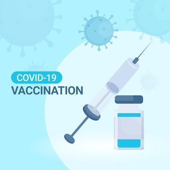 Conceito de vacinação covid-19 com frasco de vacina perto de injeção de seringa em fundo afetado por coronavírus azul.
